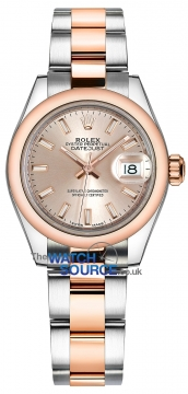 Rolex Lady Datejust 28mm Stainless Steel and Everose Gold 279161 Sundust Index Oyster watch
