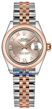 Rolex Lady Datejust 28mm Stainless Steel and Everose Gold 279161 Sundust Roman Jubilee watch