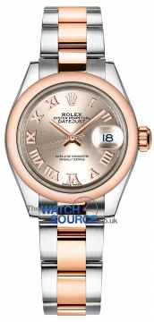 Rolex Lady Datejust 28mm Stainless Steel and Everose Gold 279161 Sundust Roman Oyster watch