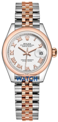 Buy this new Rolex Lady Datejust 28mm Stainless Steel and Everose Gold 279161 White Roman Jubilee ladies watch for the discount price of £8,050.00. UK Retailer.