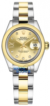 Rolex Lady Datejust 28mm Stainless Steel and Yellow Gold 279163 Champagne 17 Diamond Oyster watch