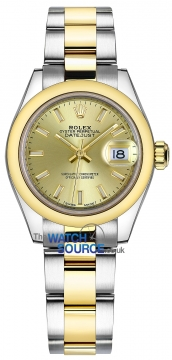 Rolex Lady Datejust 28mm Stainless Steel and Yellow Gold 279163 Champagne Index Oyster watch