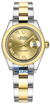 Rolex Lady Datejust 28mm Stainless Steel and Yellow Gold 279163 Champagne Roman Oyster watch