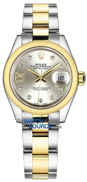 Rolex Lady Datejust 28mm Stainless Steel and Yellow Gold 279163 Silver 17 Diamond Oyster watch