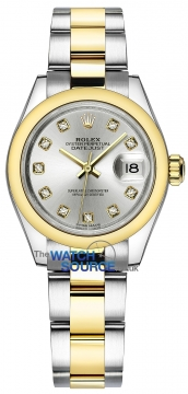 Rolex Lady Datejust 28mm Stainless Steel and Yellow Gold 279163 Silver Diamond Oyster watch