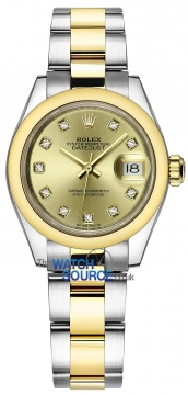 Rolex Lady Datejust 28mm Stainless Steel and Yellow Gold 279163 Champagne Diamond Oyster watch