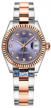 Rolex Lady Datejust 28mm Stainless Steel and Everose Gold 279171 Aubergine Diamond Oyster watch