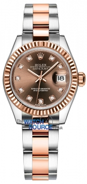 Rolex Lady Datejust 28mm Stainless Steel and Everose Gold 279171 Chocolate Diamond Oyster watch