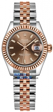 Buy this new Rolex Lady Datejust 28mm Stainless Steel and Everose Gold 279171 Chocolate Index Jubilee ladies watch for the discount price of £8,100.00. UK Retailer.