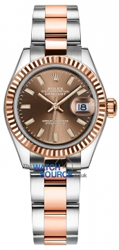 Rolex Lady Datejust 28mm Stainless Steel and Everose Gold 279171 Chocolate Index Oyster watch