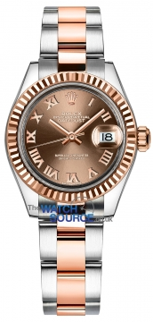 Rolex Lady Datejust 28mm Stainless Steel and Everose Gold 279171 Chocolate Roman Oyster watch