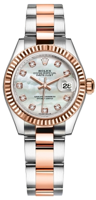 Rolex Lady Datejust 28mm Stainless Steel and Everose Gold 279171 MOP Diamond Oyster watch