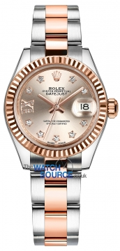 Rolex Lady Datejust 28mm Stainless Steel and Everose Gold 279171 Sundust 17 Diamond Oyster watch
