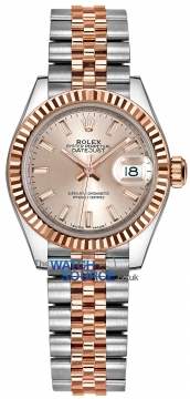 Buy this new Rolex Lady Datejust 28mm Stainless Steel and Everose Gold 279171 Sundust Index Jubilee ladies watch for the discount price of £8,100.00. UK Retailer.