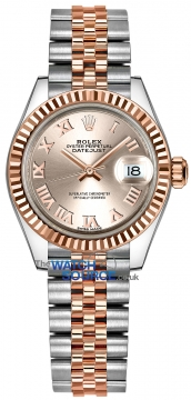 Buy this new Rolex Lady Datejust 28mm Stainless Steel and Everose Gold 279171 Sundust Roman Jubilee ladies watch for the discount price of £8,100.00. UK Retailer.