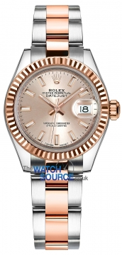 Rolex Lady Datejust 28mm Stainless Steel and Everose Gold 279171 Sundust Index Oyster watch