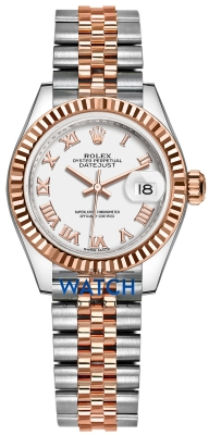 Buy this new Rolex Lady Datejust 28mm Stainless Steel and Everose Gold 279171 White Roman Jubilee ladies watch for the discount price of £8,100.00. UK Retailer.
