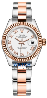 Rolex Lady Datejust 28mm Stainless Steel and Everose Gold 279171 White Roman Oyster watch