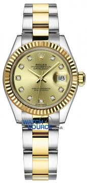 Rolex Lady Datejust 28mm Stainless Steel and Yellow Gold 279173 Champagne Diamond Oyster watch