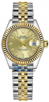 Rolex Lady Datejust 28mm Stainless Steel and Yellow Gold 279173 Champagne Index Jubilee watch