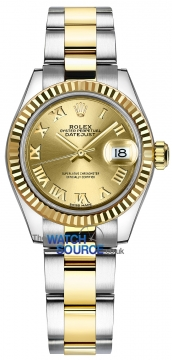 Rolex Lady Datejust 28mm Stainless Steel and Yellow Gold 279173 Champagne Roman Oyster watch