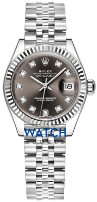 Buy this new Rolex Lady Datejust 28mm Stainless Steel 279174 Dark Grey Diamond Jubilee ladies watch for the discount price of £8,100.00. UK Retailer.