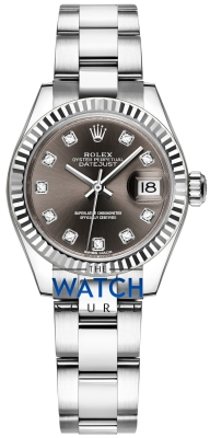 Buy this new Rolex Lady Datejust 28mm Stainless Steel 279174 Dark Grey Diamond Oyster ladies watch for the discount price of £8,100.00. UK Retailer.