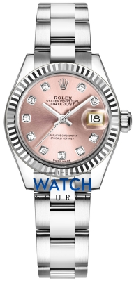 Buy this new Rolex Lady Datejust 28mm Stainless Steel 279174 Pink Diamond Oyster ladies watch for the discount price of £8,100.00. UK Retailer.