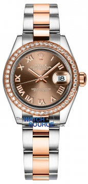 Rolex Lady Datejust 28mm Stainless Steel and Everose Gold 279381RBR Chocolate Roman Oyster watch