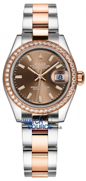 Rolex Lady Datejust 28mm Stainless Steel and Everose Gold 279381RBR Chocolate Index Oyster watch