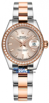 Rolex Lady Datejust 28mm Stainless Steel and Everose Gold 279381RBR Sundust Index Oyster watch