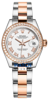 Rolex Lady Datejust 28mm Stainless Steel and Everose Gold 279381RBR White Roman Oyster watch