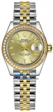 Rolex Lady Datejust 28mm Stainless Steel and Yellow Gold 279383RBR Champagne Index Jubilee watch