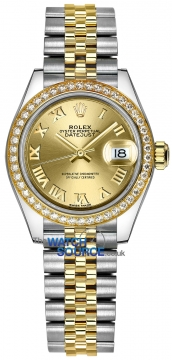 Rolex Lady Datejust 28mm Stainless Steel and Yellow Gold 279383RBR Champagne Roman Jubilee watch