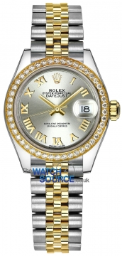 Rolex Lady Datejust 28mm Stainless Steel and Yellow Gold 279383RBR Silver Roman Jubilee watch