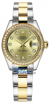 Rolex Lady Datejust 28mm Stainless Steel and Yellow Gold 279383RBR Champagne Diamond Oyster watch