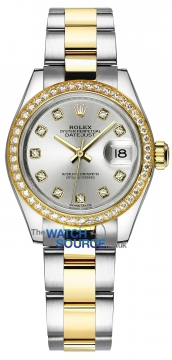 Rolex Lady Datejust 28mm Stainless Steel and Yellow Gold 279383RBR Silver Diamond Oyster watch