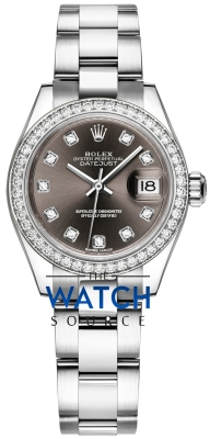 Rolex Lady Datejust 28mm Stainless Steel 279384RBR Dark Grey Diamond Oyster watch