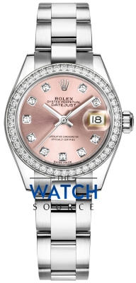 Rolex Lady Datejust 28mm Stainless Steel 279384RBR Pink Diamond Oyster watch