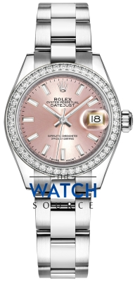 Rolex Lady Datejust 28mm Stainless Steel 279384RBR Pink Index Oyster watch