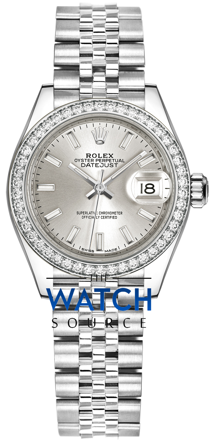 Rolex Lady Datejust 28mm Stainless Steel 279384RBR Silver Index Jubilee