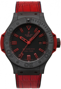 Hublot Big Bang King All Black Red 48mm Mens watch, model number - 322.ci.1130.gr.abr10, discount price of £11,800.00 from The Watch Source