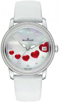 Blancpain Ladies Ultra Slim Automatic 34mm Ladies watch, model number - 3400-4554-58b St Valentin, discount price of £11,200.00 from The Watch Source
