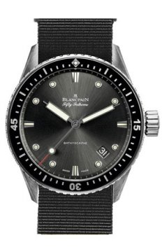 Blancpain Fifty Fathoms Bathyscaphe Automatic 43mm Mens watch, model number - 5000-1110-NABA, discount price of £6,506.00 from The Watch Source