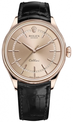 Rolex Cellini Time 39mm 50505 Pink Black Strap watch