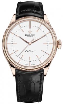 Rolex Cellini Time 39mm 50505 White Black Strap watch
