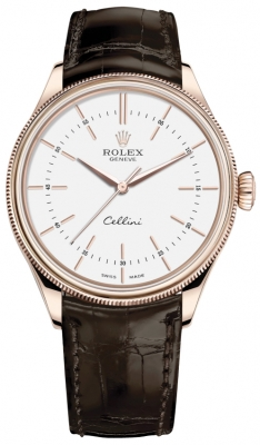 Rolex Cellini Time 39mm 50505 White Brown Strap watch