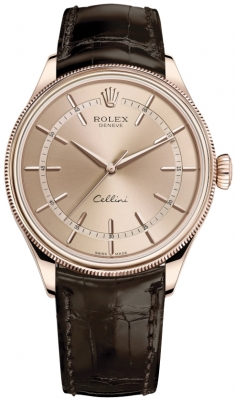 Rolex Cellini Time 39mm 50505 Pink Brown Strap watch