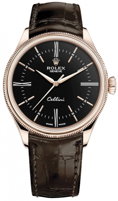 Rolex Cellini Time 39mm 50505 Black Brown Strap watch