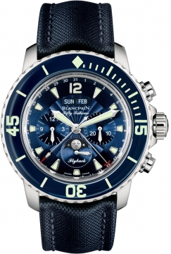 Blancpain Fifty Fathoms Complete Calendar Flyback Chronograph Mens watch, model number - 5066f-1140-52b, discount price of £14,577.00 from The Watch Source